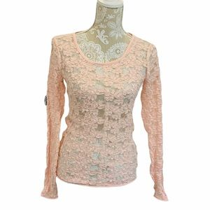 Free People Sheer Lace Long Sleeve Blouse SM 1879